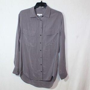 Equipment gray silk button down signature blouse